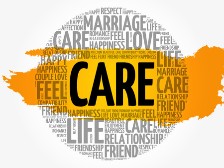 CARE circle word cloud collage concept, vector illustration.