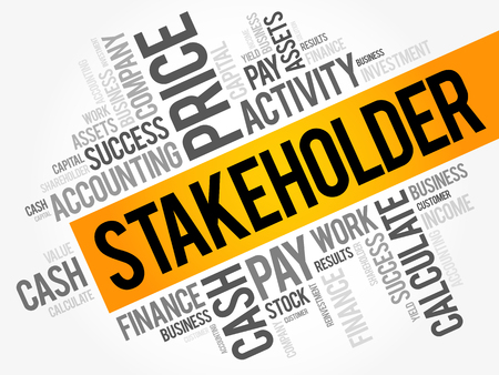 Stakeholder word cloud collage, business concept background Illustration