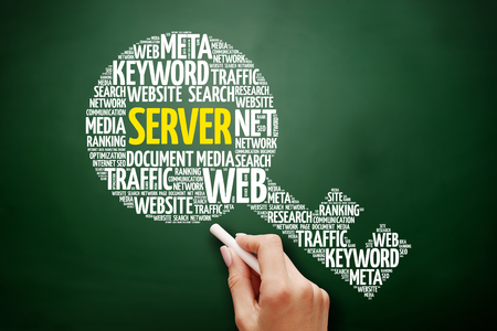 Server key word cloud collage, business concept on blackboard Stock Photo