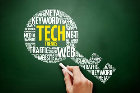 Tech Trends key word cloud collage, business concept on blackboard