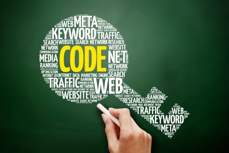 CODE key word cloud collage, business concept on blackboard Stock Photo