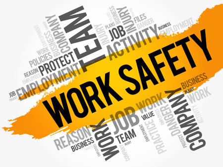 Work Safety word cloud collage, business concept background Illustration