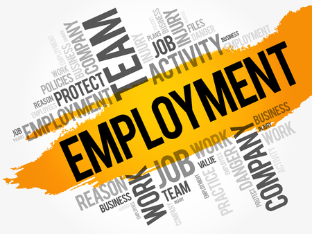 Employment word cloud collage, business concept background