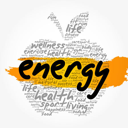 ENERGY apple word cloud collage, health concept background