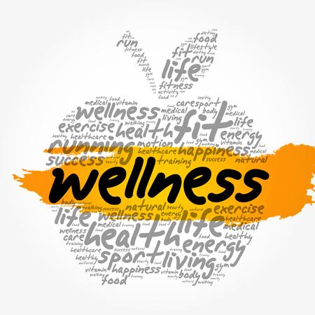 Collage della nuvola di parola di benessere, fondo di concetto di salute Vettoriali