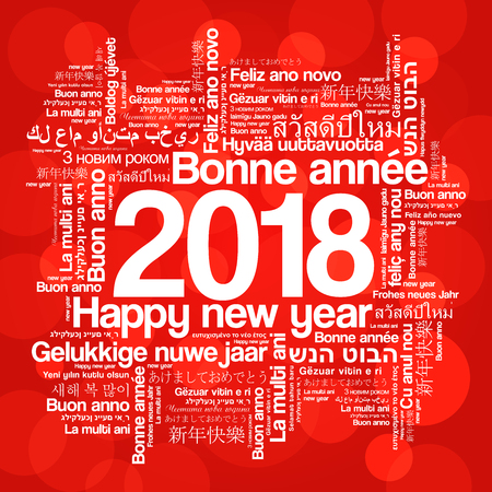 2018 Happy New Year in different languages, celebration word cloud greeting card Vettoriali