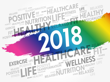 2018 word cloud collage, health concept background