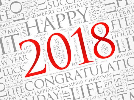 2018 greetings word cloud collage.