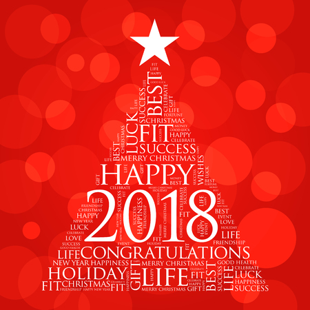 2018 year greeting word cloud collage, Happy New Year celebration word cloud card in the shape of a christmas tree Illustration