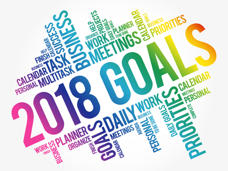 2018 Goals word cloud business concept background