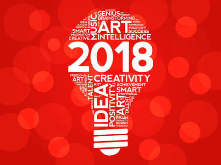 2018 Creative Ideas bulb word cloud collage, concept background