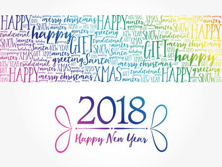 2018 Happy New Year. Christmas background word cloud, holidays lettering collage
