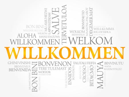 Willkommen, Bienvenido en alemán Nube de palabras en diferentes idiomas, vector conceptual
