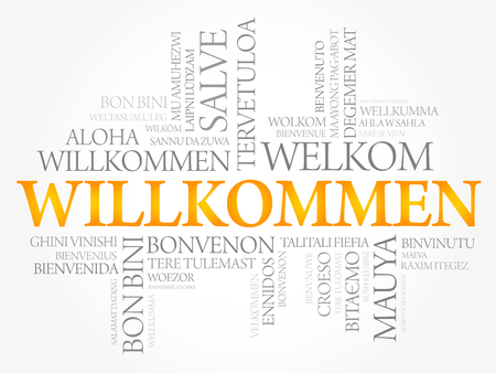 Willkommen, Welcome in German Word cloud in different languages, conceptual vector