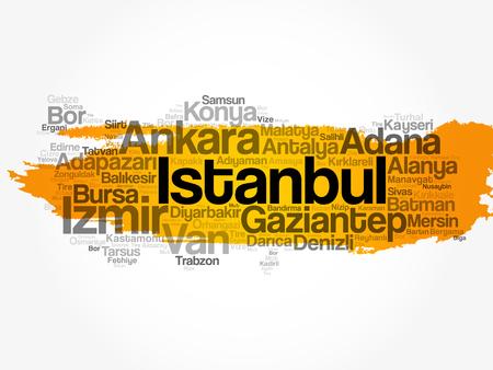 List of cities in Turkey word cloud concept vector