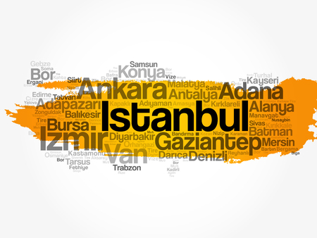 List of cities in Turkey word cloud concept vector