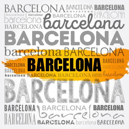 Barcelona wallpaper word cloud, travel concept vector