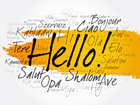 Hello word cloud in different languages of the world, background concept Vettoriali