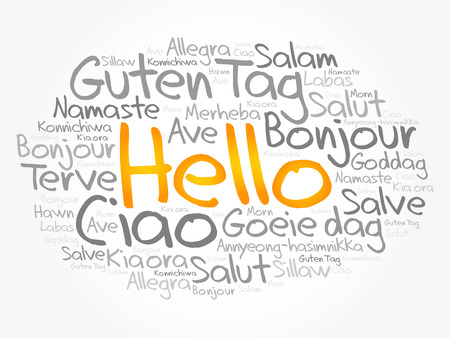 Hello word cloud in different languages of the world, vector concept