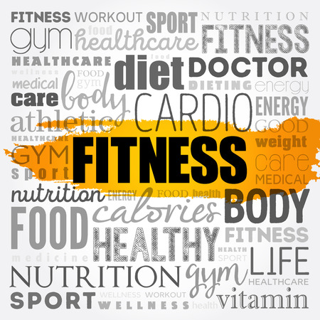 FITNESS word cloud collage, health concept vector