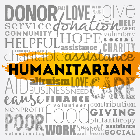 Humanitarian word cloud collage, social concept vector