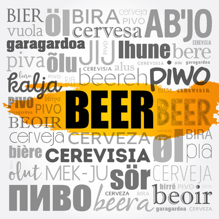 BEER in different languages of the world (english, french, german, etc) Word Cloud collage vector