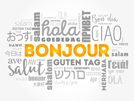 Bonjour (Hello Greeting in French) word cloud in different languages of the world, background concept Illustration