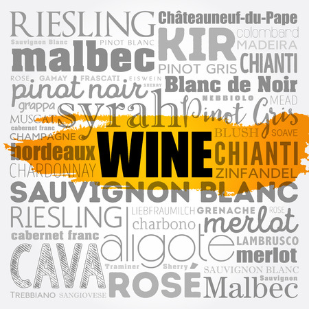 WINE word cloud collage, concept vector