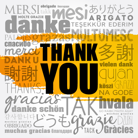 Thank You word cloud in different languages, concept vector Vetores