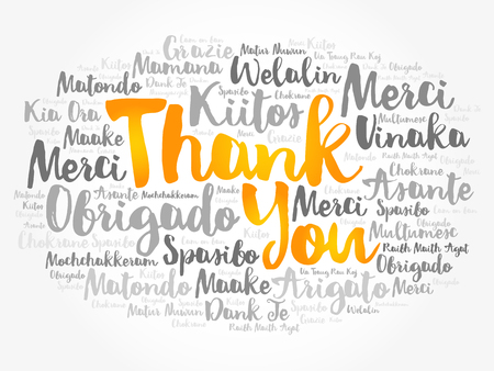 Thank You word cloud in different languages, concept vector Ilustração