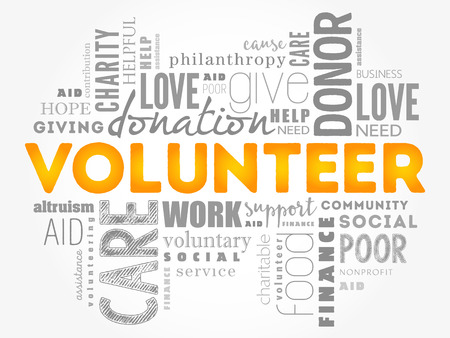 Volunteer word cloud collage, social concept background