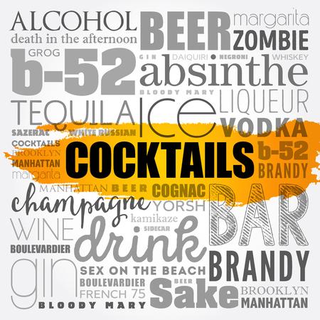 Different cocktails and ingredients, word cloud collage, design concept vector Standard-Bild - 91823338