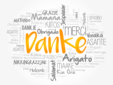 Danke (Thank You in German) Word Cloud background, all languages, multilingual for education or thanksgiving day Vector Illustration