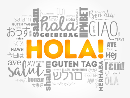 Hola! (Hello Greeting in Spanish) word cloud in different languages of the world, background concept Imagens - 91821922