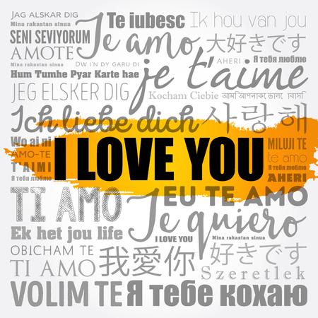 love words I love you in all languages of the world, word cloud background Ilustração