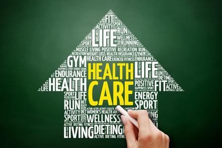 Health care arrow word cloud collage, health concept on blackboard