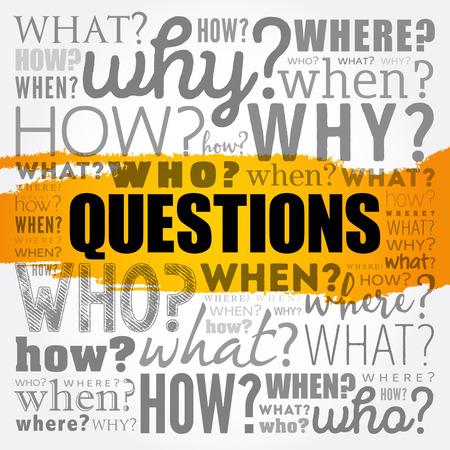Questions word cloud concept design.
