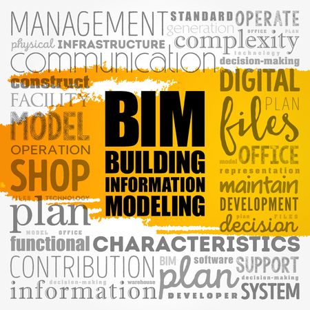 BIM word cloud concept design.