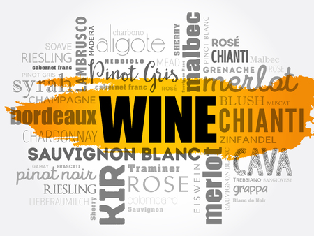 WINE word cloud concept design. Çizim