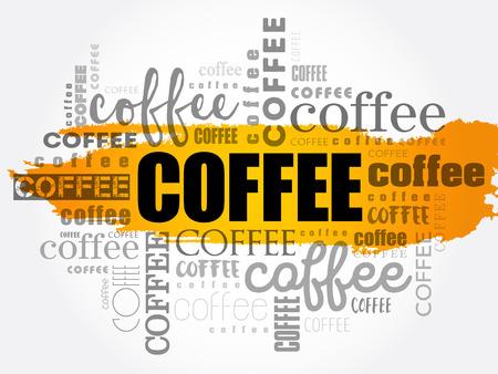 커피 단어 구름 개념 디자인입니다. 일러스트