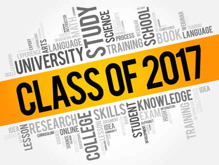 CLASS OF 2017 word cloud concept design.