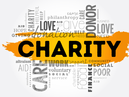 Charity word cloud concept design.