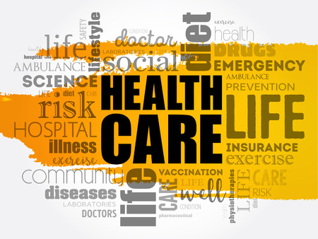 Health Care word cloud concept design. 向量圖像