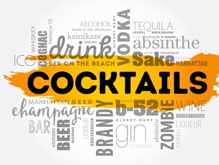 Cocktailwortwolken-Konzeptdesign.