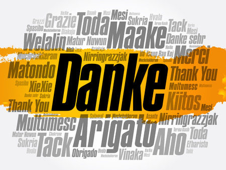 Danke word cloud concept design.