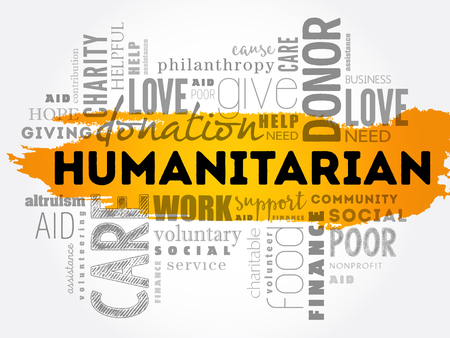 Humanitarian word cloud collage concept illustration.