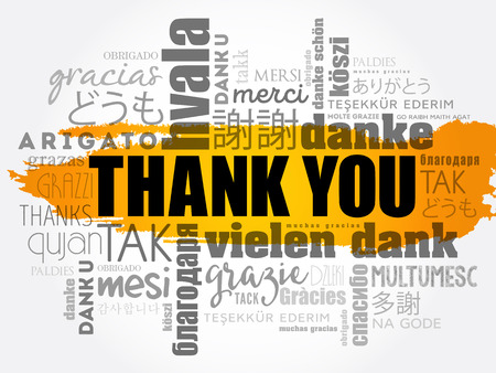 Thank You word cloud collage concept illustration.