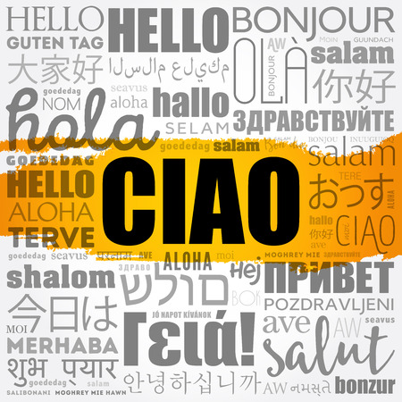 Ciao word cloud collage concept illustration. Illustration
