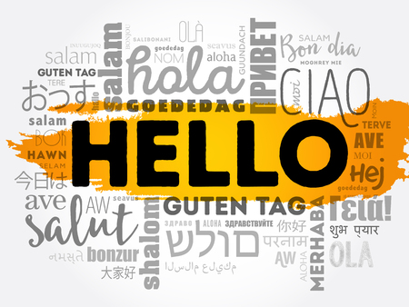 Hello word cloud collage concept illustration.