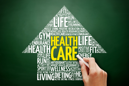 Health care arrow word cloud collage, health concept on blackboard